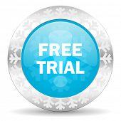 free trial icon, christmas button