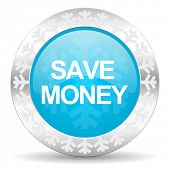 save money icon, christmas button