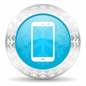 smartphone icon, christmas button, phone sign