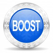 boost blue icon, christmas button