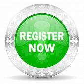 register now green icon, christmas button