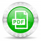 pdf file green icon, christmas button