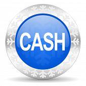 cash blue icon, christmas button