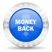 money back blue icon, christmas button