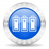 battery blue icon, christmas button, power sign