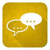 forum flat icon, gold christmas button, chat symbol, bubble sign