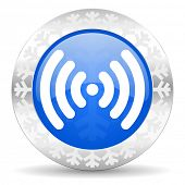 wifi blue icon, christmas button, wireless network sign