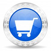 cart blue icon, christmas button, shop sign