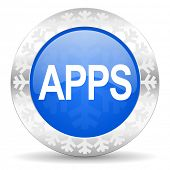apps blue icon, christmas button