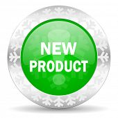 new product green icon, christmas button