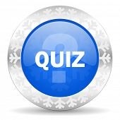 quiz blue icon, christmas button