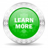 learn more green icon, christmas button