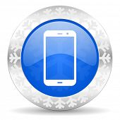 smartphone blue icon, christmas button, phone sign
