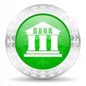 bank green icon, christmas button