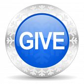 give blue icon, christmas button