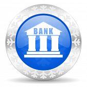 bank blue icon, christmas button