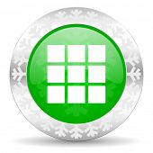 thumbnails grid green icon, christmas button, gallery sign