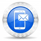 mail blue icon, christmas button, post sign