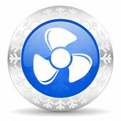 fan blue icon, christmas button