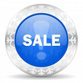 sale blue icon, christmas button