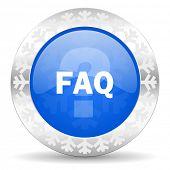 faq blue icon, christmas button