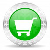 cart green icon, christmas button, shop sign