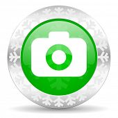 photo camera green icon, christmas button, photography sign