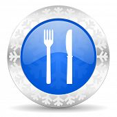 eat blue icon, christmas button, restaurant sign