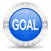 goal blue icon, christmas button