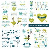 Huge Valentine's Day Set - over 100 elements - Hearts, Arrows, Keys, Cupids, Labels - in vector