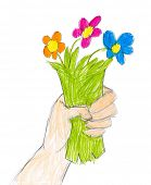 hand with bunch of flowers. child drawing