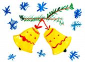 Christmas bell on tree with snowflakes. Child drawing.