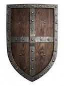 image of crusader  - crusader medieval wooden shield isolated - JPG
