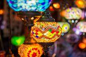 Beautiful colorful lanterns on street