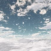 3D render of a snowy landscape