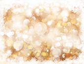 Christmas background with bokeh lights and snowflake border