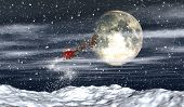 3D render of Santa flying through the night sky