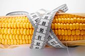 fresh corn with measuring tape