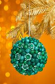 branch of Christmas tree with decoration ball