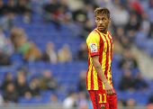 BARCELONA - MARCH, 29: Neymar da Silva of FC Barcelona in action during a Spanish League match against RCD Espanyol at the Estadi Cornella on March 29, 2014 in Barcelona, Spain