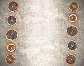 Vintage Natural Background, Dried Orange On Jute Fabric.