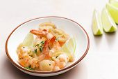 prawns with lime on thyme