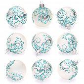 white christmas balls on white background