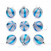 blue-silver christmas balls on white background