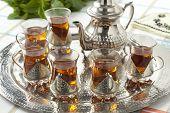 Moroccan tea glasses and pot