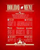 Holiday menu list, New Year vintage menu on a red paper.