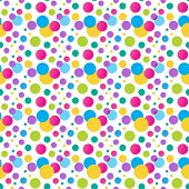 Seamless  polka dot pattern. Bright  Vector pattern for birthday design. Can be used for wallpaper, web, textile, wrap design