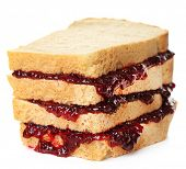 Tasty sandwich with jam isolated on white