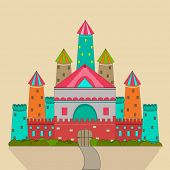 Colorful royal castle for fairy tales concept on brown background.
