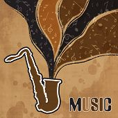 Stylish text of Music and musical notes coming out from saxophone on retro grungy beige background.